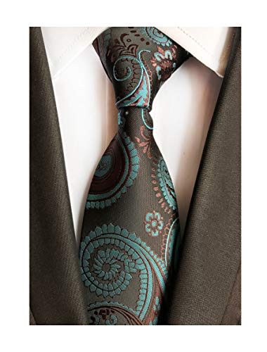 Mens Silk Brown Teal Blue Tie Summer Cool Gentleman Party Self Cravat uk Necktie