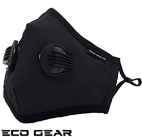 Anti Pollution Face Mask Eco-Gear Particulate Respirator N95 Protection | Anti Dust, Exhaust Gas, Smoke, Pollen, Fumes and Allergens | Washable with 3 Filters for Indoor and Outdoor (Black Tux)
