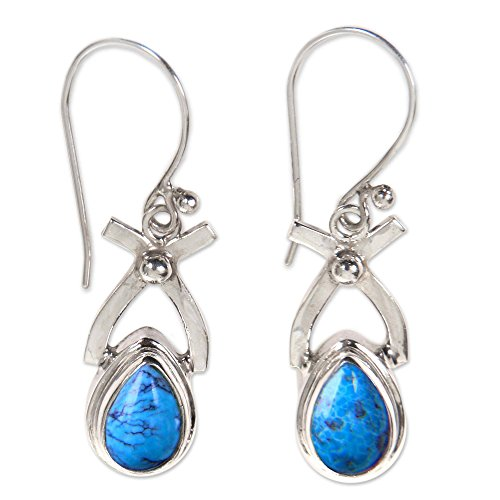 NOVICA Natural Turquoise and .925 Sterling Silver Dangle earrings, Temptations' (Online Christmas Makers Card)