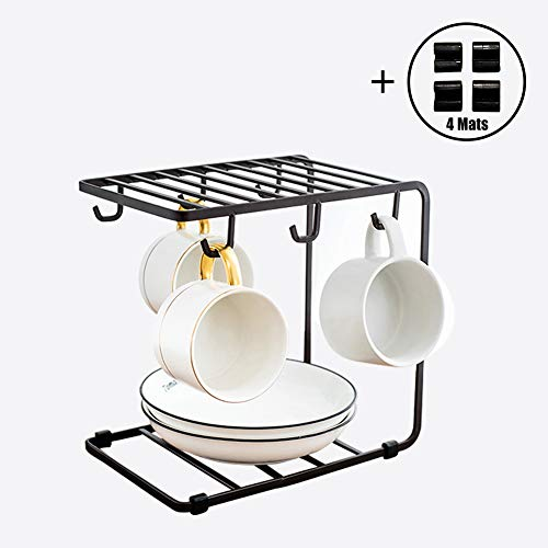 (WECOLZ Stainless Steel Mug Holder/Kitchen Rack with Hooks | Iron Art Decoration - for Organizing & Drying Mugs, Glasses, Tableware - Ideal for Cafe, Home, Coffee Shop, Office, Restaurant (Dark Brown))