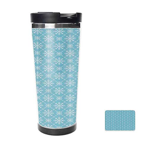 Winter Season Themed Snowflakes Christmas Merry Time of The Year Travel Mug for Coffee & Tea,Drinking Cup, Coffee Mug,Thermos Cup 18oz