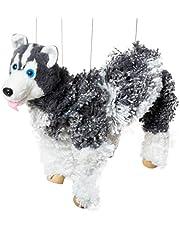Artisan Owl Siberian Husky Dog Marionette Yarn Puppet