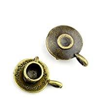 130 Pieces Jewelry Making Findings Antique Bronze Charms FL1520 Tea cup Craft Lots Repair Supplies