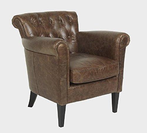 LuxuryLeather3 Lusso poltrona, sedia Chester Texas marrone in pelle di alta qualità