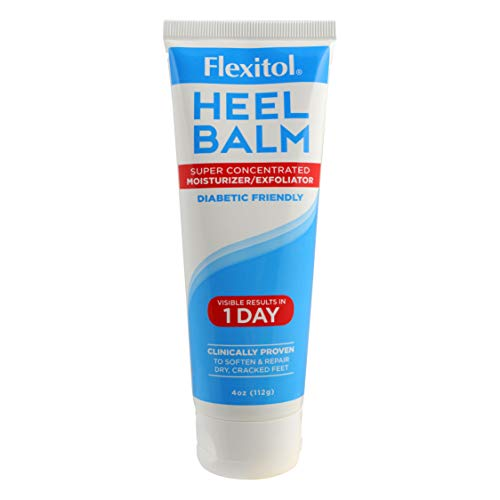 Flexitol Heel Balm 4 Oz Tube, Rich Moisturizing & Exfoliating Foot Cream for Fast Relief of Rough, Dry & Cracked Skin on Heels and Feet. Use Daily or For Pedicures. Safe & Effective for Diabetic Use