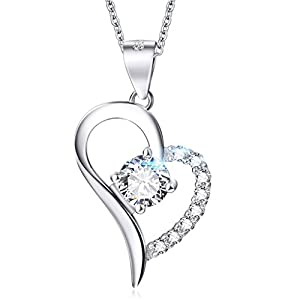 ELOI 925 Sterling Silver Forever Love Heart Pendant Necklace Wedding Anniversary Jewelry Girlfriend Gift