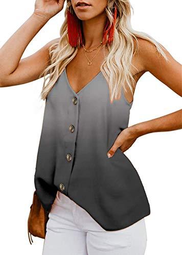 Euaoxnc Women's Casual V Neck Button Down Strappy Cami Tank Tops Summer Sleeveless Loose Shirts Blouses ((US8-10) Medium, Tie Dye-Gray)