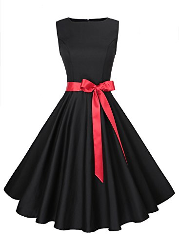 Anni Coco Women's Classic 1950s Vintage Hepburn Dresses Black Medium - Black 50s Dress