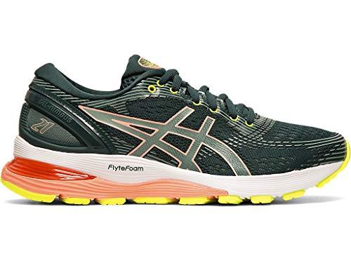 6 Height Material - ASICS Women's Gel-Nimbus 21 Running Shoes, 6M, Saxon Green/Celadon
