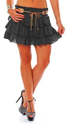 ZARMEXX Mesdames mignon Volantrock jupe d't Mini jupe avec ceinture jupe  volants en coton (taille unique, 36-40) Anthracite