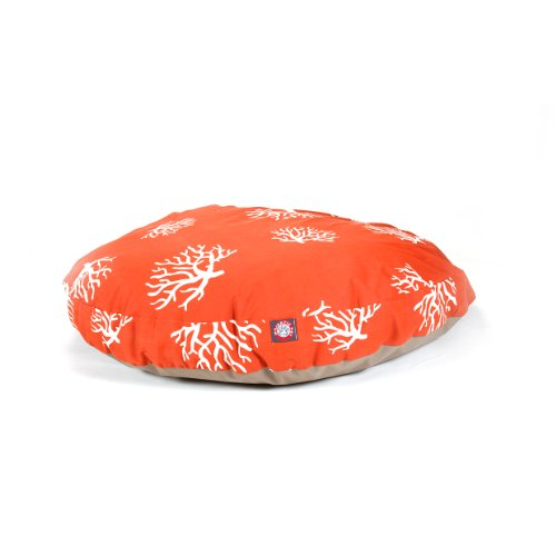 Majestic Pet Orange Coral Round Pet Bed, Large, My Pet Supplies