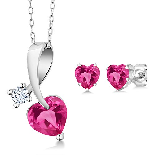 2.71 Ct Heart Shape Pink Created Sapphire 925 Sterling Silver Pendant Earrings - Pendant Heart Sapphire Set