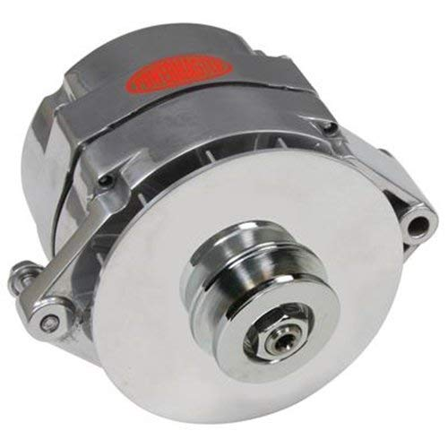 1967 Alternator - Powermaster Performance 17294-344 Chrome Alternator (12SI 100A 1V Pulley & Baffle 1 or 3 Wire)