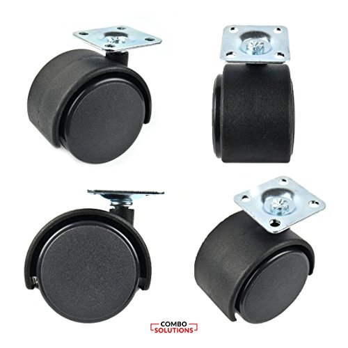 1.5 Inches Black Nylon Twin Wheel Swivel Plate Caster with 20 Screws - 4 Sets (Plate Caster Swivel)
