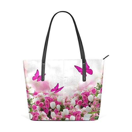 COOSUN Mariposas rosas flores de los tulipanes de la PU de cuero bolso monedero y bolsos de la bolsa de asas para las mujeres Medio muticolour