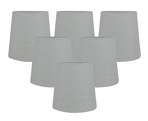Meriville Set of 5 Gray Linen Clip On Chandelier Lamp Shades, 4-inch by 5-inch by 5-inch (Grey, Set of 6) (Chandelier Shade Drum Burlap)