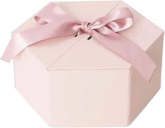 Caja de Regalo Hexagonal Rosada Material de la cartulina respetuosa del Medio Ambiente Diseño de la Cubierta Diseño de la Tarjeta del día de Fiesta de la Fiesta de cumpleaños: Amazon.es: Hogar