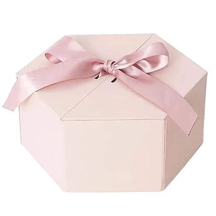 Caja de Regalo Hexagonal Rosada Material de la cartulina respetuosa del Medio Ambiente Diseño de la