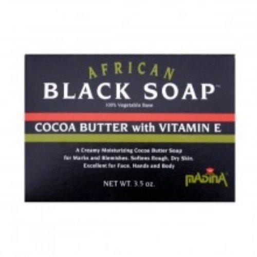 (Madina Madina African Black Soap Cocoa Butter with Vitamin E, 3.5)