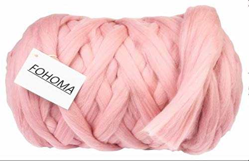 Giant Wool Yarn Chunky Arm Knitting Super Soft Wool Yarn Bulky Wool Roving (2 kg/4.4 lbs, Pink) (Hats Knitting Felted)