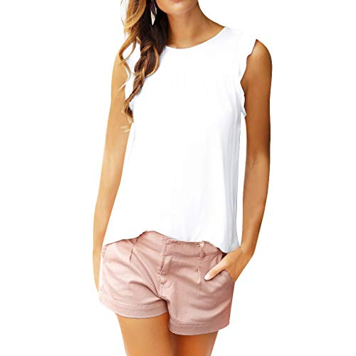 Tank Tops for Women O Neck Casual Vest Sleeveless Solid Color Ruffle Blouse (XL, White) ()