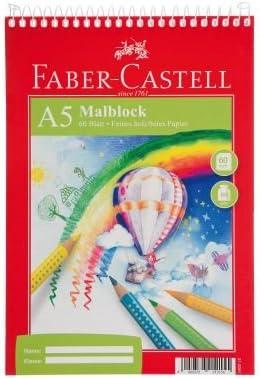 5x Faber Castell Malblock / DIN A5 / mit Kopfspirale / 60 Blatt je Zeichenblock