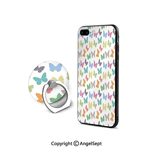 iPhone 8 Case/iPhone 7 Case with Ring Holder Kickstand,Soft Colored Spring Season Animal Silhouettes in Various Forms Abstract Nature Decorative,Retail Packaging,Multicolor