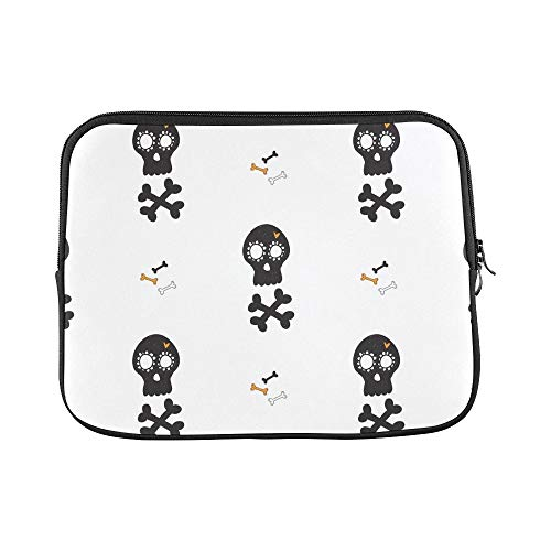 Design Custom Halloween Bones Black Mexican Sleeve Soft Laptop Case Bag Pouch Skin for MacBook Air 11