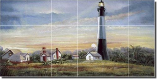Lighthouse by Wanta Davenport - Artwork On Tile Ceramic Mural 12.75'' x 25.5'' Kitchen Shower Backsplash