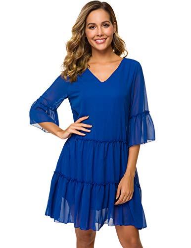 CHICIRIS Women's Cute Shift Dress Fully Lined V Neck Ruffle Hem Wrap Chiffon Dress Blue S - Fully Lined Wrap Dress