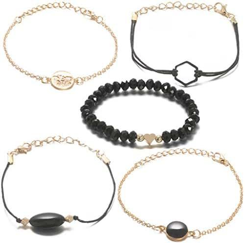 Gallity Black Beaded Map Bracelet for Women Handmade Charm Pendent Stack Bracelets for Women Girl Friendship Gift Bohemian Bracelets Stretch Charm Holiday Bracelet