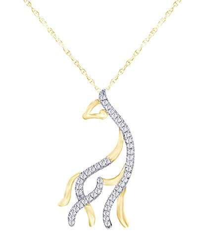 1/10 CT Round Cut Natural Diamond Giraffe Pendant Necklace in 10K Solid Yellow ()