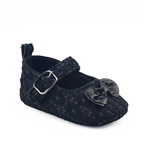 Coohole Newborn Infant Baby Girls Hook & Loop Buckle Strap Bowknot Crib Shoes Soft Sole Anti-slip Sneakers (12, Blue 1) Black 1