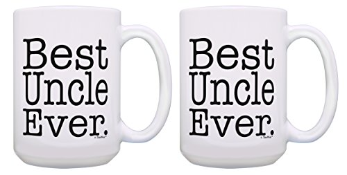 Cool Uncle Gifts Best Uncle Ever Mug Set Best Uncle Birthday Gifts 2 Pack Gift 15-oz Coffee Mugs Tea Cups 15 oz White