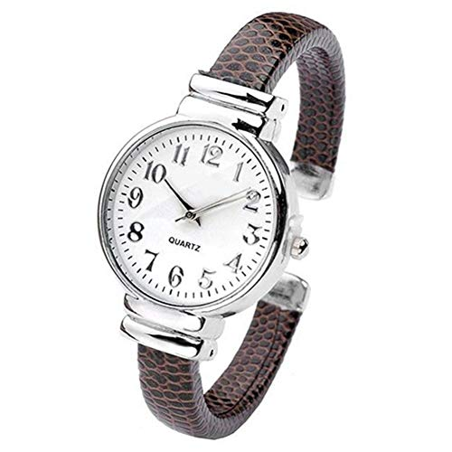 Women's Fashion Snakeskin Pattern Faux Leather Band Quartz Bangle Wrist Watch