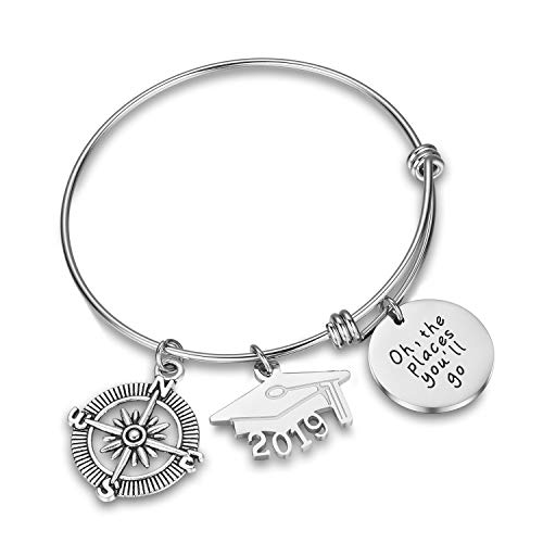 CJ&M Graduation Bangle Jewelry Stainless Steel 2019 Oh,The Place You'll Go Bangle Bracelet Graduation Gift,Graduation Jewelry
