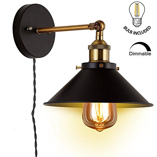 Kiven Dimmable Wall Sconces Light E26 Base Black Wall Industrial Vintage Edison Simplicity Lamp Fixture Steel Finished for Cafe Club ,6-Foot Twisted Black Cloth Cord (Steel Cables Black Twisted)
