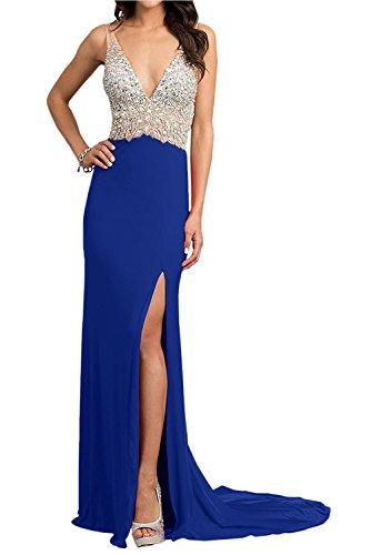 Steine Festlichkleider Ausschnitt Partykleider Braut Rot mia Abendkleider Blau La Royal mit Elegant Ballkleider V Lang Zahlreichen 4wOvWXq