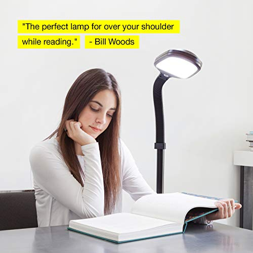 Brightech Litespan LED Bright Reading and Craft Floor Lamp - Modern Standing Pole Light - Dimmable, Adjustable Gooseneck Task Lighting Great in Sewing Rooms, Bedrooms - Black by Brightech (Image #9)