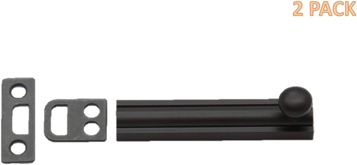 QCAA Solid Brass Surface Bolt 2pack, Matte Black 4
