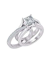 2.10 ct.tw Princess Cut Created White Sapphire 14K White Gold Plated Interchangeable Wedding Ring Set for Women's
