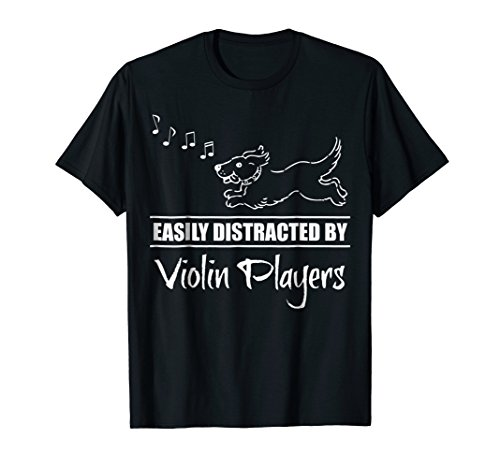 Running Dog Easily Distracted by Violin Players Music Notes T-Shirt