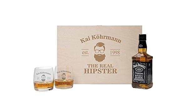 Desconocido foryou24 2 Vasos de Whisky con Caja de Madera y ...