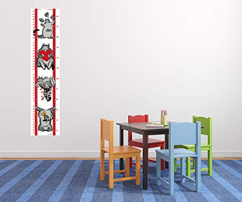 Wall Stickers for Kids Rooms Child Growth Chart Boys & Girls Height Chart, B Kliban Cat Theme Up to 5.5 Feet