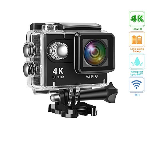 Action Camera 4K 16MP Underwater Waterproof Camera 170° Wide Angle WiFi Sports Cam with 1 Battery and Mounting Accessories Kit