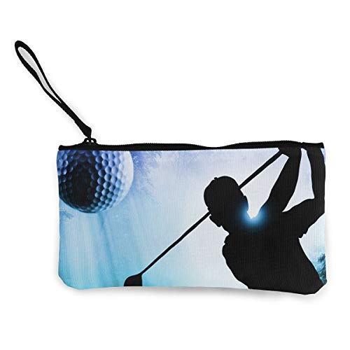Oomato Canvas Coin Purse People Golf Playing Sport Cosmetic Makeup Storage Wallet Clutch Purse Pencil -