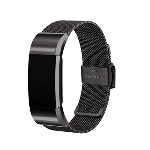 (For Fitbit Charge 2,Tiean Size adjusted comfortable sturdy durable Mesh Milanese Stainless Steel Quick Release Watch Band Strap with interlock clasp (Black))