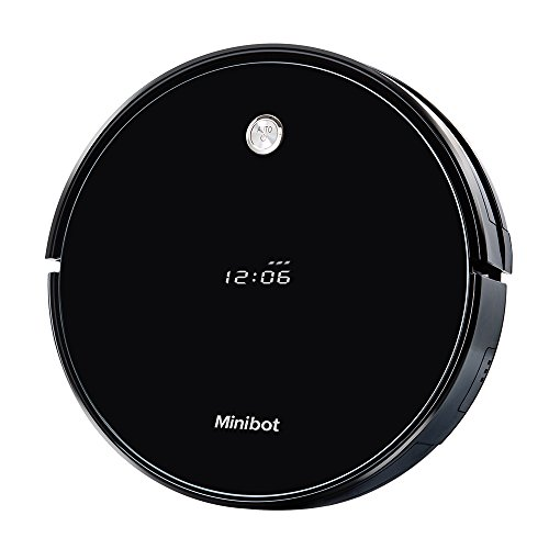 Minibot Robotic Vacuum and Mop Cleaner,Super Power Suction,Self-Charging for Pet Hairs,Hard Surface Floors & Thin Carpets,Black