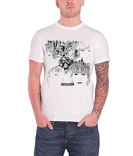 Revolver Album Cover - Rock Off Men's The Beatles Revolver Album Cover Short Sleeve T-Shirt Medium White