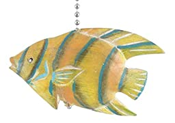Tropical Hand Carved Yellow Angel Fish Three Dimensional Wooden Ceiling Fan Pull